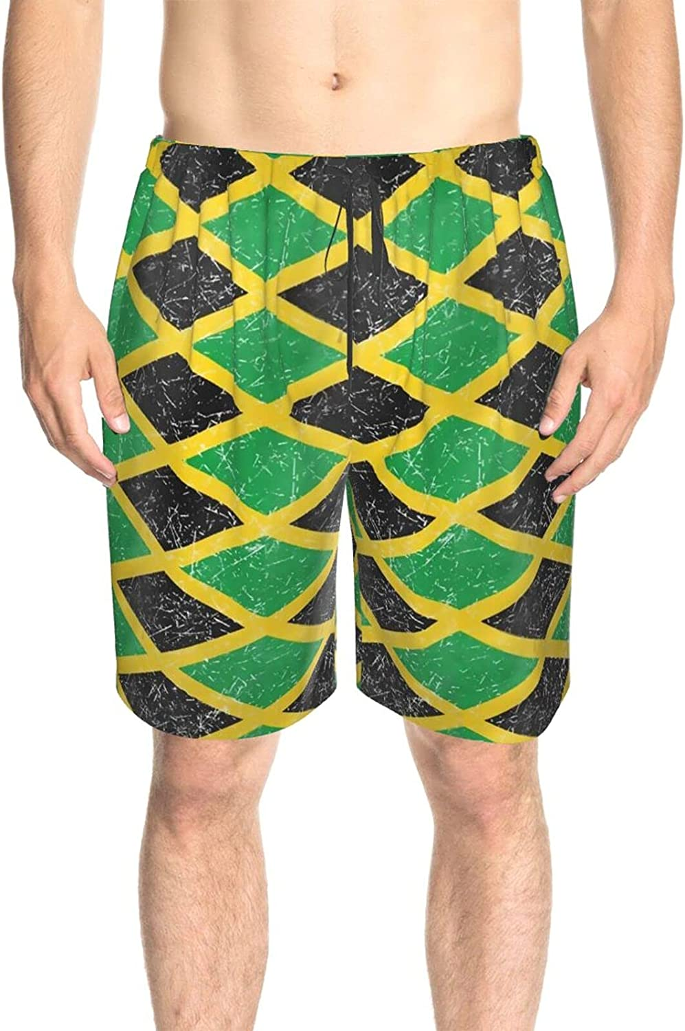 JINJUELS Mens Bathing Suits Jamaica Flag Bathing Suit Boardshorts Quick Dry Cool Summer Boardshorts with Liner
