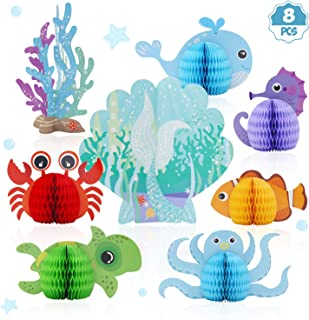 Mermaid Centerpieces - Under The Sea Honeycomb Party Supplies - Ocean Themed Birthday Decorations for Baby Shower Wedding Pool Party 8pcs