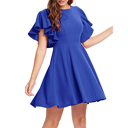 Romwe Womens Stretchy A Line Swing Flared Skater Cocktail Party Dress
