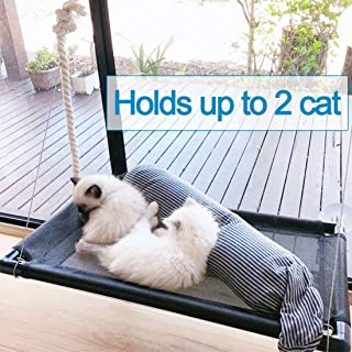 Cat Bed Window Perch Hammock Sunny Seat for Larger Cats Perches Window Mounted Cat Beds Two Kitty Window Seat Animal Pet Kitten Cot Beds Heavy Duty 4 Suction Cups Holds Up to 60lbs