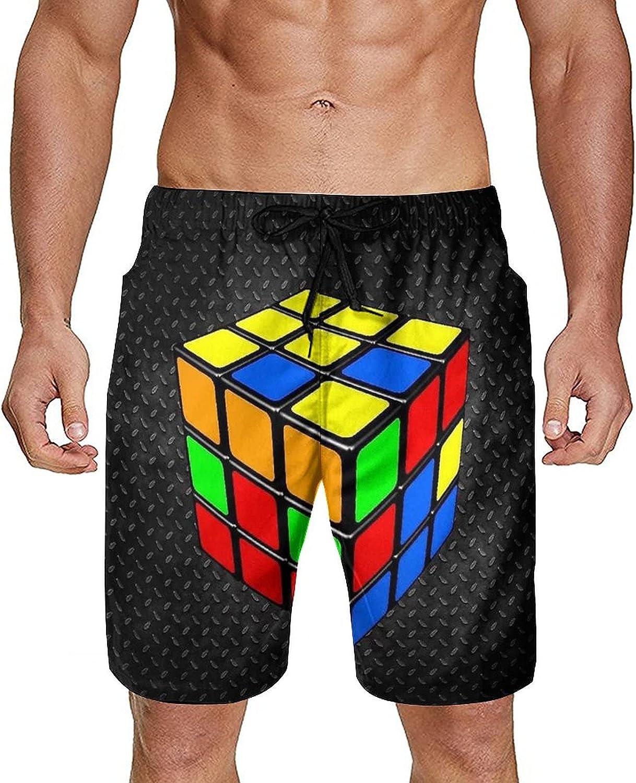 SWEET TANG Mens Boys Breathable Swim Trunks Casual Beach Board Shorts Adjustable Drawstring Elastic Waistband for Beach Outdoor Hiking, Colorful Cube Rubik Black
