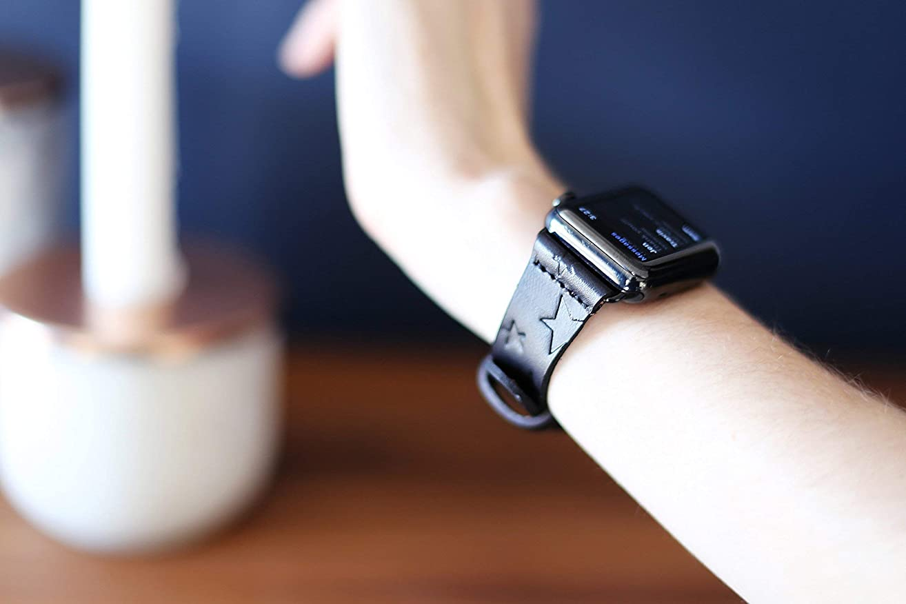 iwatch leather band, Leather Apple Watch band, for 38mm 42mm iwatch band, Star pattern, Custom made to Order