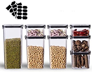8 Pc Airtight Food Storage Container Set for Kitchen&Pantry- BPA Free Clear Plastic Containers -Contain 16Labels & 1Marker