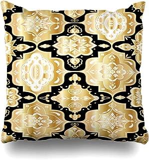 Ahawoso Throw Pillow Cover Persian Black Geometric Moroccan Tiles Lantern Abstract Diamond Carpet Ceramic David Dots Design Decorative Pillow Case Home Decor Square Size 20x20 Inches Pillowcase