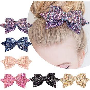 """Musical Notes Glitter Hair Bow 3.5/"""" Black /& White Music Hair Clip"""