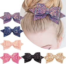 5 Inch Glitter Hair Bows Boutique Hair Clips 6 Pcs Multi Color Glitter Sequins Big Hair Bows for Baby Girls Teens Toddlers
