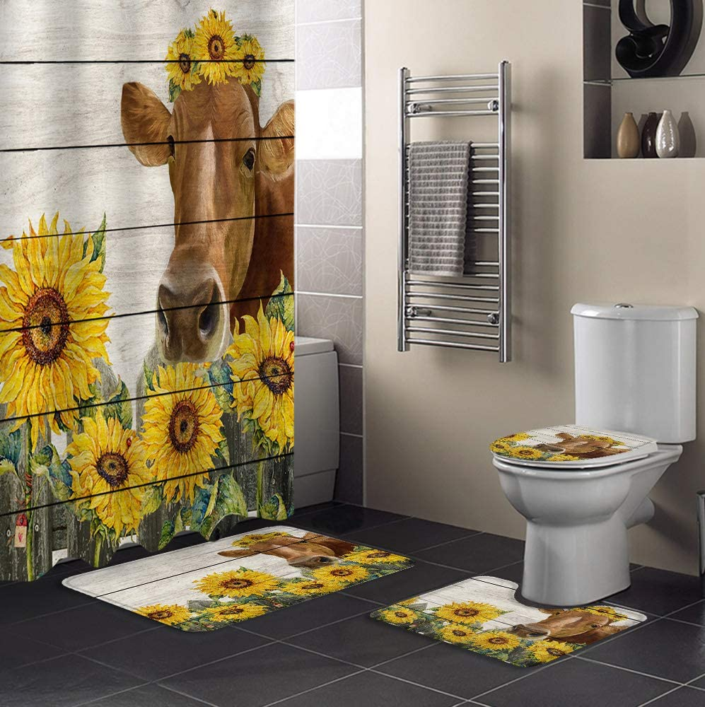 MUSEDAY 4 Piece Shower Curtain Sets Houston Mall Rugs L Super beauty product restock quality top with Non-Slip Toilet