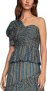 BCBGMAXAZRIA womens Striped Pyramid One Shoulder Top Blouse