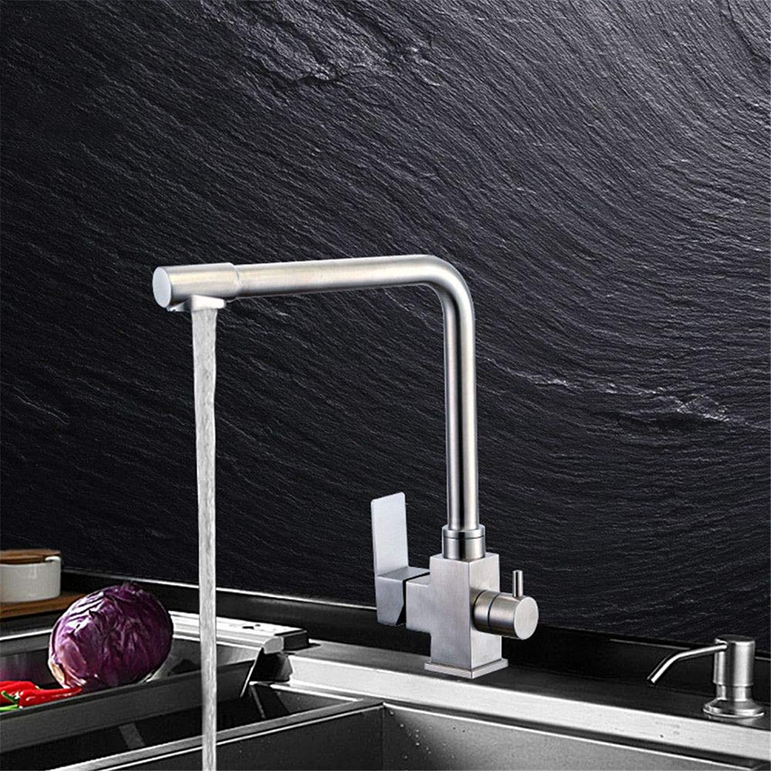 YAWEDA 304 Stainless Steel Hot and Cold Water Mixer Faucet Kitchen Faucet 3 Way with Filter Faucet with Pure Water Table Lower Basin Wash Vegetable Hot Water Mixer Faucet