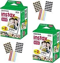 FujiFilm Instax Mini Instant Camera Film: White (2 Packs: 40 Film Sheets) + Bundle with 6 Sheets of Self-Adhesive Photo Corners | Compatible with Mini 9, Mini 8, Mini 25, Mini 90, Fuji SP-1, SP-2