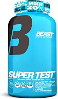 Super Test by Beast Sports - Professional Strength, Natural Testosterone Booster Supplement with Nitric Oxide Support for Maximum Muscle Mass, Stamina, Strength, and Recovery, Bonus Size, 216 Capsules