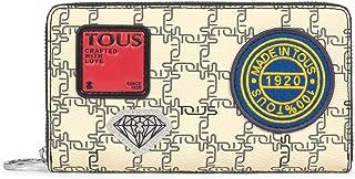 TOUS Billetera Mediana TOUS Logogram Patch Beige y Negro