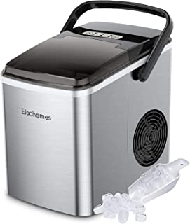 Elechomes Ice Maker Machine Countertop, Portable Ice Maker with Handle, Self-Cleaning Function, 27lbs Ice Cubes Per 24Hrs,...