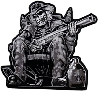Hot Leathers, MOONSHINE SKELETON, High Thread Embroidered Iron-On / Saw-On Rayon PATCH - 9