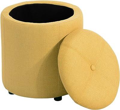 MEUBLE COSY Pouf Salon Tabouret avec Espace de Rangement Repose-Pieds avec Couvercle en Tissu Jaune, 36x36x40cm