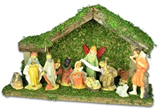 BANBERRY DESIGNS Holiday Nativity Set - 11pc Nativity Set with Wooden Stable and Figurines - Christmas Nativity Scene