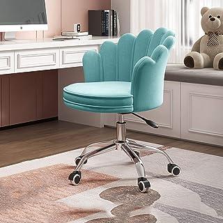Sillas de escritorio de oficina Silla de escritorio giratoria con respaldo medio, silla de terciopelo para computadora, silla de altura ajustable, respaldo lumbar, silla ergonómica para tocador Sill