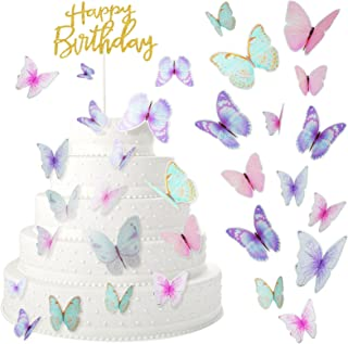 60 Pieces Butterfly Cake Toppers with Happy Birthday Cake Topper, 3D Butterfly Topper Mixed Size Color Butterfly Decoratio...