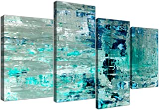 Wallfillers Large Turquoise Teal Abstract Painting Wall Art Print Canvas - Split 4 Set - 4333