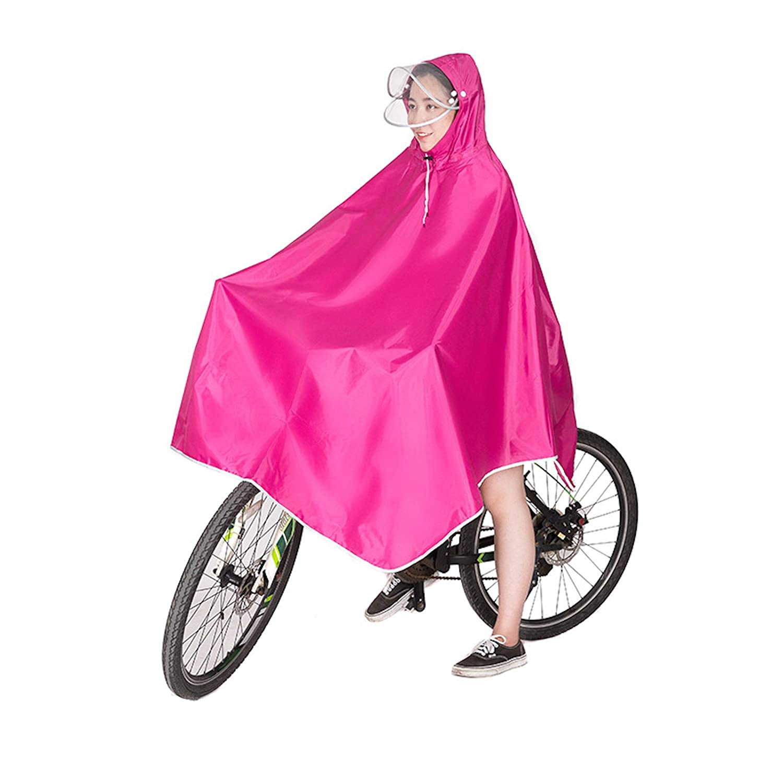 Elonglin レインコート レインポンチョ バイク 自転車 ダブルバイザー 男女兼用 フリーサイズ ユニセックス 帽子 防水 防汚 ロング メンズ レディース 携帯 レインウェア 防水 通勤 通学 収納袋付き オックスフォード 完全防水
