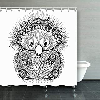 X-Large Shower Curtain Hand Drawn Tribal Totem Echidna Australian Animals Wildlife Adult The Arts Decor Fabric Set Polyester Waterproof 72x72 Inch Free 12-Pack Plastic Hooks