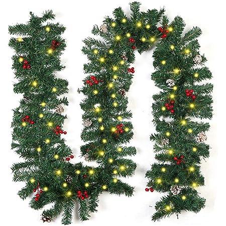 doro Ghopy 180CM Ghirlanda di Decorazioni Natalizie,Ghirlanda Artificiale per la Decorazione con Palla di Bacche Dorate Fiocco Dorato Camino Natalizio Decorazione di Scale Finestre e Porte