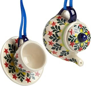 """Set of 2 Polish Pottery Fern Tree Leaves Teapot & Cup with Saucer Handmade Ceramic Christmas Ornaments, 3.25""""Dia. x 2.5""""H (Red Stars)"""
