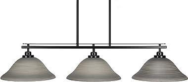 "Toltec Lighting 2636-MB-604 Odyssey 3 Island Light Shown in Matte Black Finish with 12"" Gray Linen Glass, Matte Black Finish"