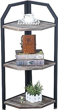 Industrial Metal Bookshelf Modern/Rustic Corner Book Shelves with Real Wood,Corner 3-Tier Bookcase Display Stand,Standing Home Decor Shelf Units