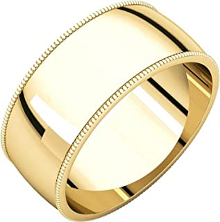 PriceRock 10K Yellow Gold 5mm Slightly Domed Standard Comfort-Fit Wedding Band Ring for Men /& Women Size 4 to 15