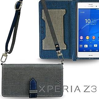 XPERIA Z3 SO-01G SOL26 401SO ケース JMEIオリジナルカルネケース VESTA & ロングストラップ グレー Sony docomo au softbank ドコモ エーユー ソフトバンク エクスペリアz3 スマホ カバー スマホケース 手帳型 ショルダー スリム スマートフォン