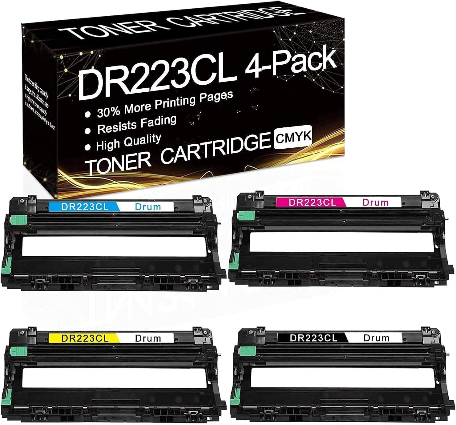 4-Pack (1BK+1C+1M+1Y) DR223CL Drun Unit Compatible Drum Unit Replacement for Brother HL-3210CW HL-3230CDW HL-3270CDW HL-3230CDN HL-3290CDW MFC-L3770CDW MFC-L3710CW MFC-L3750CDW DCP-L3510CDW Drum Unit.