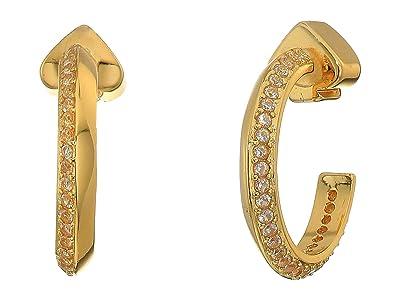 Kate Spade New York Raise The Bar Pave Huggies Earrings (Clear/Gold) Earring
