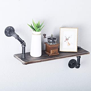 FOF FRIEND OF FAMILY Reclaimed Wood & Industrial Heavy Duty DIY Pipe Shelf Shelves Steampunk Rustic Urban Bookshelf Real Wood Bookshelves and bookcases (1 Tier)