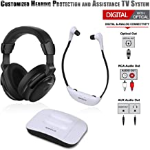 SIMOLIO Dual Digital Wireless TV Headphones, Hearing Protection Wireless Headphone for TV Watching, Wireless TV Headsets for All TVs, TV Hearing Assistance Device for Seniors and Hard of Hearing