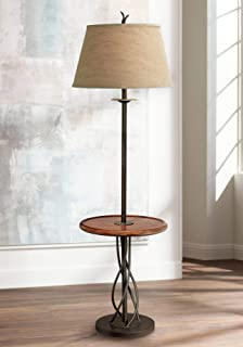 Rustic Floor Lamp with Table Wood Twisted Iron Base Linen Empire Shade for Living Room Reading Bedroom - Franklin Iron Works
