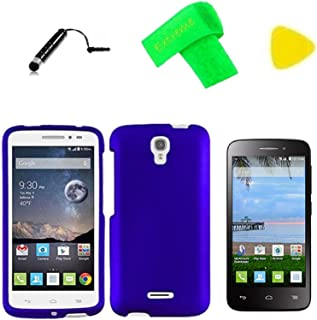 Hard Snap On Cover Phone Case + Screen Protector + Extreme Band + Stylus Pen + Pry Tool For Alcatel onetouch Pop Astro 5042T/Pixi Charm A450TL (Blue)