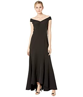 adc88fdbbf38 Adrianna Papell Knit Crepe Evening Gown with Bow Detail  199.00 Off the  Shoulder Mermaid Dress