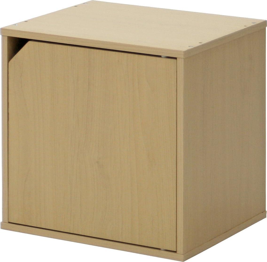 ドラムメロンインレイ『 扉付きキューブボックス 』【IT】【tm】ナチュラル(#9870284) 幅34.5×高さ34.5×奥行29.5cm