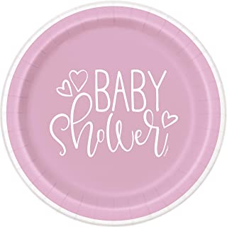 Pink Heart Baby Shower Party Paper Plates, 8 Ct.