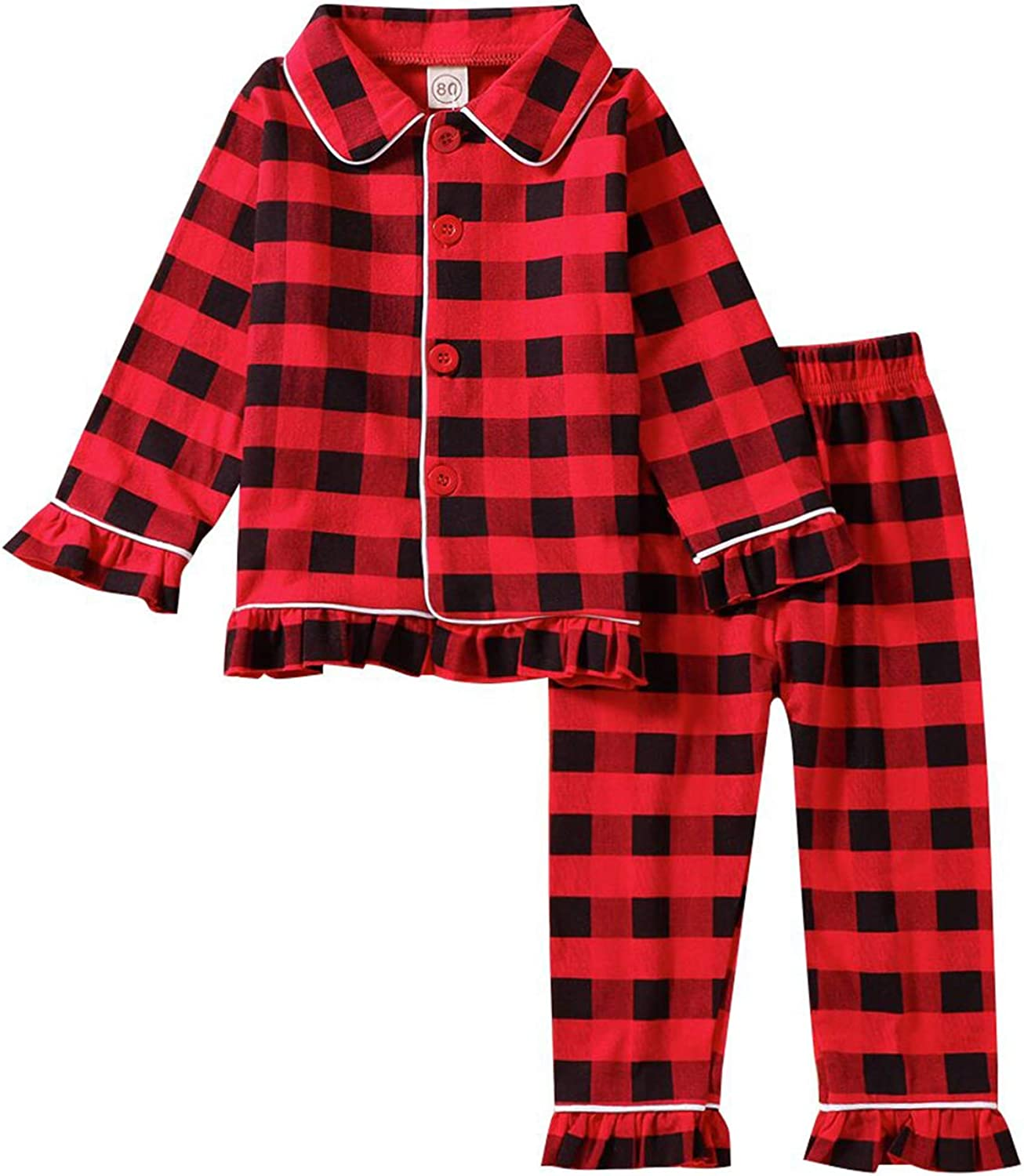 Toddler Baby Girls Pajama Sets Plaid Long Year-end annual account Print Ruffles Sleeve T NEW
