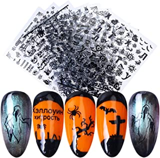 Macute 3D Halloween Nail Art Stickers Black Adhesive Day of the Dead Nail Decals 9 Sheets Skull Witch Pumpkin Ghost Cross Eye Spider Nail Sticker Designs for Halloween Party Supplies Nails Decorations