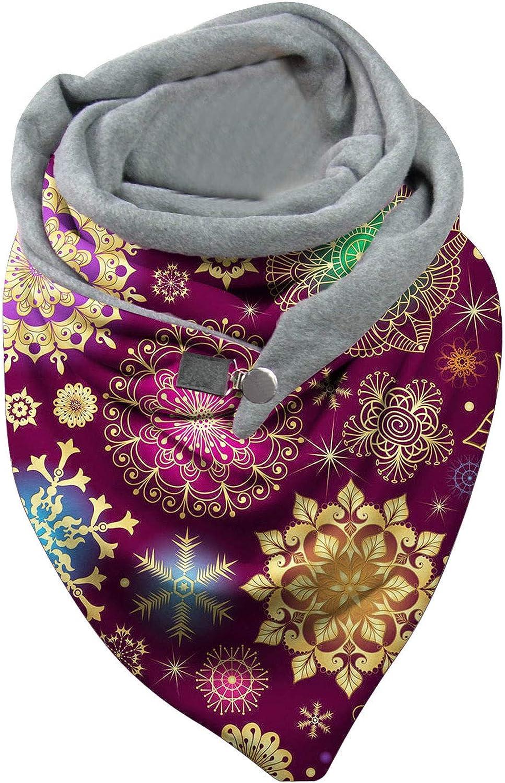 Women Circle Loop Scarves Vintage Printing Winter Warm Wrap Soft Shawls Button Casual Cloak Bib