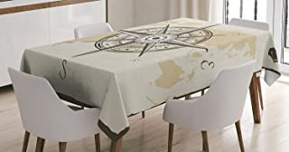 Ambesonne Compass Decor Tablecloth, Nautical Compass on Background of Old Map with Torn Border Frame Illustration Print, Rectangular Table Cover for Dining Room Kitchen, 52x70 Inches, Beige Brown