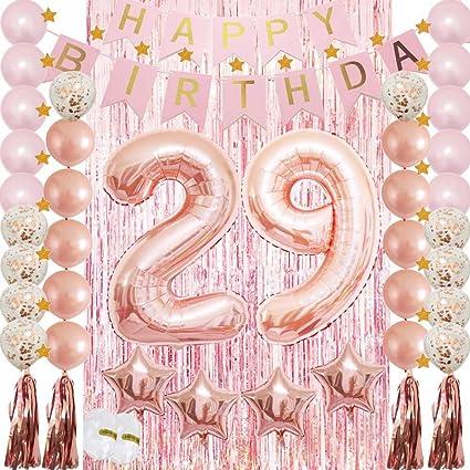 Amazon Com Decoración De Cumpleaños 29 Para Fiestas De Cumpleaños De Las Mujeres Con Globos De Oro Rosa Toys Games