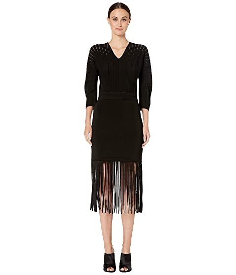 YIGAL AZROUËL Rayon V-Neck Flare Dress with Fringe Hem