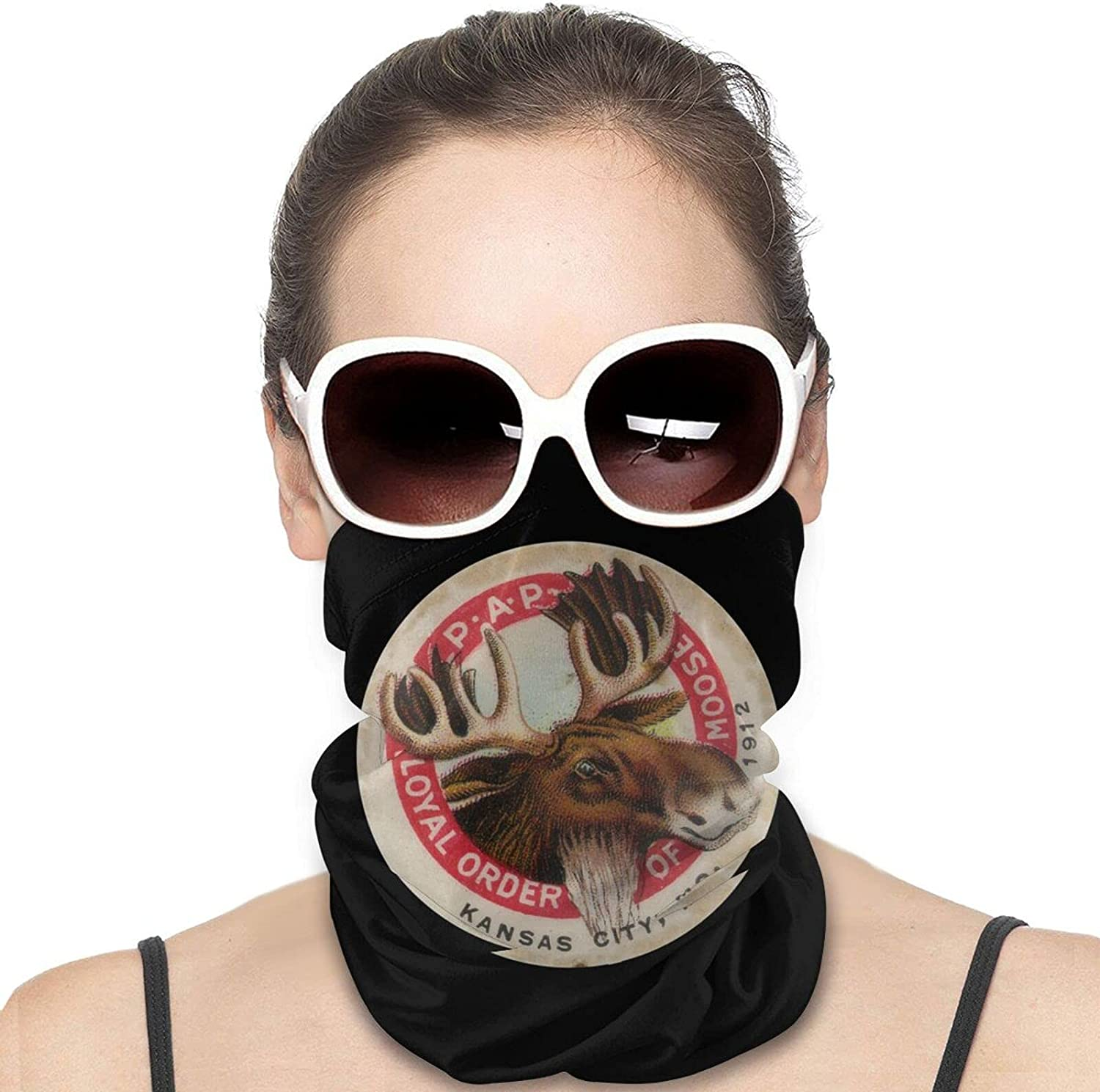 Loyal Order of Moose Round Neck Gaiter Bandnas Face Cover Uv Protection Prevent bask in Ice Scarf Headbands Perfect for Motorcycle Cycling Running Festival Raves Outdoors