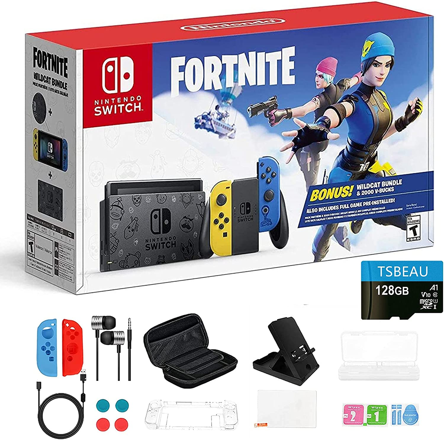 Nintendo Switch Now on sale Sales for sale Wildcat Edition 32GB with and Blu Console Yellow