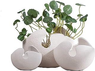 Luckyw Enkel heminredning vit äggskal keramisk vas dekoration (en uppsättning av 3)