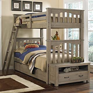 NE Kids Highlands Harper Twin Over Twin Bunk Bed in Driftwood